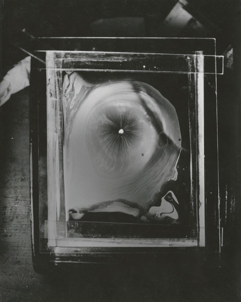 Josef Breitenbach- A small piece of camphor on the surface of mercury, 1937,  Munich,, Gelatin silver print© The Josef Breitenbach Trust.