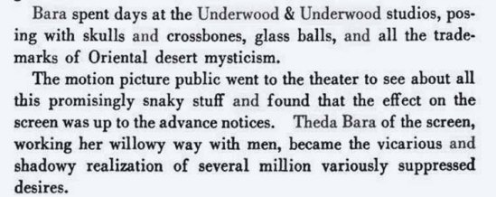 Underwood and Underwood- Theda Bara, from the book Amillion and one Nights, a history of the motion Picture by Terry Ramsaye . Ed° Routlege, 2012
