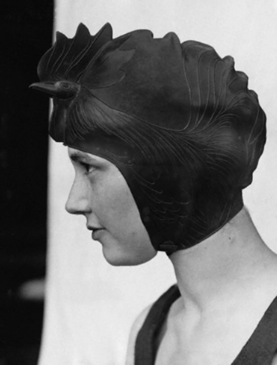 Underwood & Underwood-Miss Helen Mead of Washington Wearing Diving Cap Resembling a Rooster at the Lake Placid Swimming Club.© Underwood & Underwood- Corbis