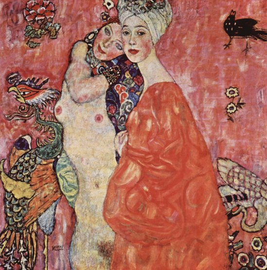 Gustav Klimt-The girlfriends Die Freundinnen 1916 Oil on canvas Destroyed by a fire set by retreating German forces in 1945