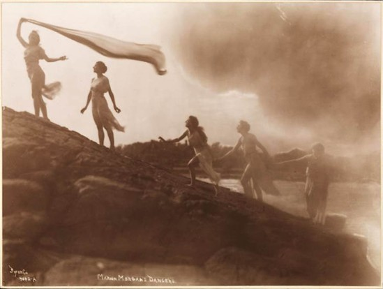 Byron Company - Marion Morgan's dancers posing on rocks at the beach Rye, New York, 1920