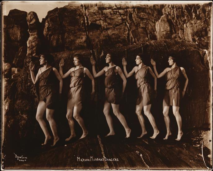 Byron Company -Marion Morgan's Dancers posing on the beach, Rye, New York. , 1920