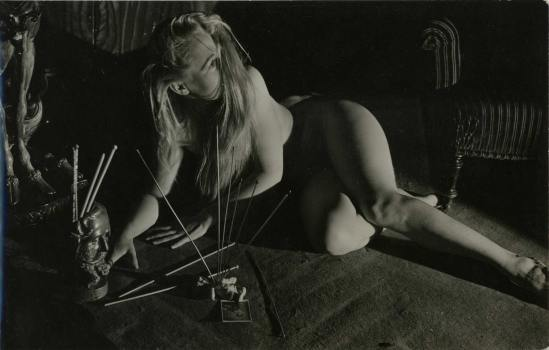 Serge de Sazo made a series of photos about La Messe Noire, Les caresses démoniaques #2 ,1950.