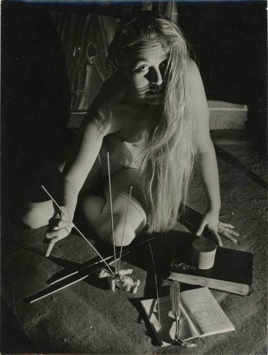 Serge de Sazo made a series of photos about La Messe Noire, Les caresses démoniaques #3,1950.