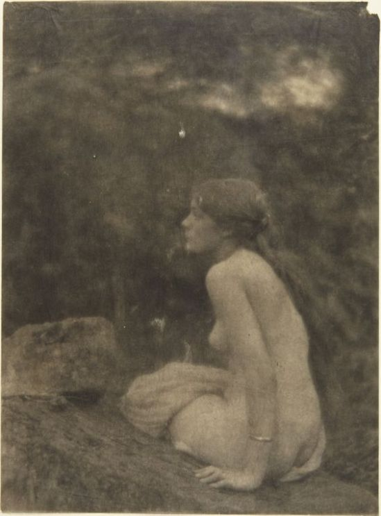 Clarence H. White- Nude on rocks and in woods,1910